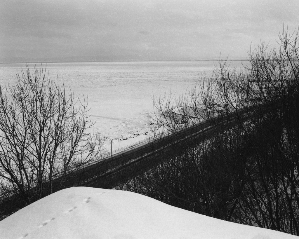 2018年2月 北海道網走市つくしヶ丘 自宅前の遊歩道から望むオホーツク海の流氷
